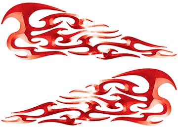 Tribal Style Flame Decals in Red