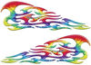 Tribal Style Flame Decals in Tie Dye Colors
