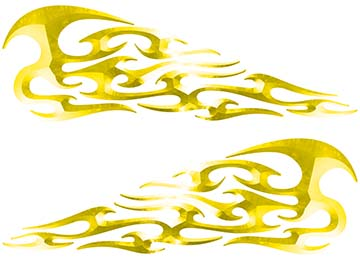 Tribal Style Flame Decals in Yellow