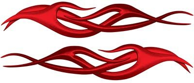 Twisted Tribal Flame Decal Kit in Red
