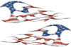 Twisted Tribal Flames Motorcycle Tank Decal Kit with American Flag