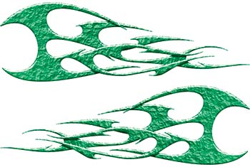 Twisted Tribal Flames Motorcycle Tank Decal Kit in Green