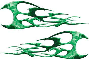 Twisted Tribal Flames Motorcycle Tank Decal Kit in Green Inferno