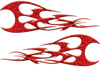 Twisted Tribal Flames Motorcycle Tank Decal Kit in Red