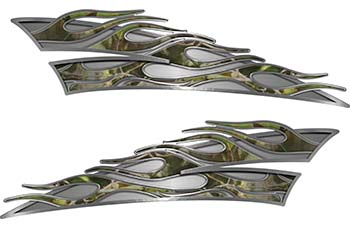 Motorcycle Tank Flame Decal Kit in Camouflage