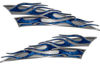 Motorcycle Tank Flame Decal Kit in Blue Camouflage