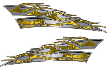 Motorcycle Tank Flame Decal Kit in Yellow Camouflage