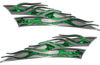 Motorcycle Tank Flame Decal Kit in Green Inferno Flames