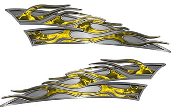 Motorcycle Tank Flame Decal Kit in Yellow Inferno Flames