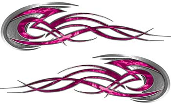 Tribal Flames Motorcycle Tank Decal Kit in Pink Camouflage