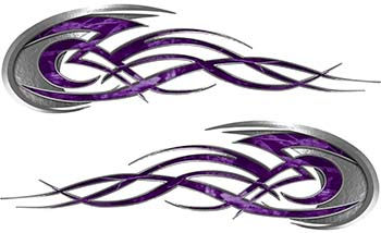 Tribal Flames Motorcycle Tank Decal Kit in Purple Camouflage