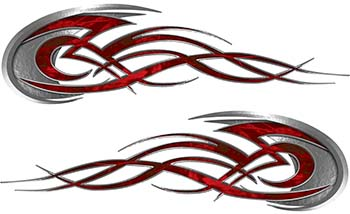 Tribal Flames Motorcycle Tank Decal Kit in Red Camouflage