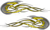 Tribal Flames Motorcycle Tank Decal Kit in Yellow Camouflage