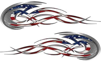 Tribal Flames Motorcycle Tank Decal Kit with American Flag