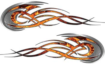 Tribal Flames Motorcycle Tank Decal Kit in Inferno