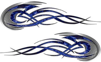 Tribal Flames Motorcycle Tank Decal Kit in Blue Inferno