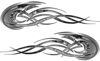Tribal Flames Motorcycle Tank Decal Kit in Gray Inferno