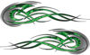 Tribal Flames Motorcycle Tank Decal Kit in Green Inferno