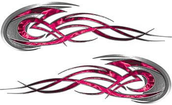Tribal Flames Motorcycle Tank Decal Kit in Pink Inferno