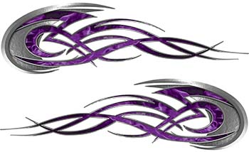 Tribal Flames Motorcycle Tank Decal Kit in Purple Inferno