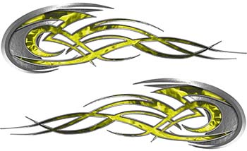 Tribal Flames Motorcycle Tank Decal Kit in Yellow Inferno