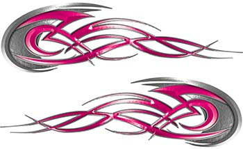 Tribal Flames Motorcycle Tank Decal Kit in Pink