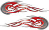 Tribal Flames Motorcycle Tank Decal Kit in Red