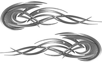 Tribal Flames Motorcycle Tank Decal Kit in Silver