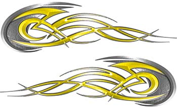 Tribal Flames Motorcycle Tank Decal Kit in Yellow