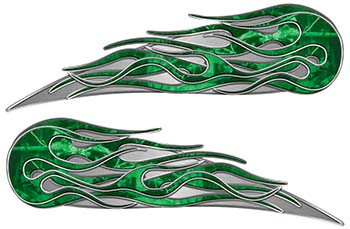 Twin Flame Motorcycle Tank Decal in Green Camouflage