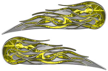 Twin Flame Motorcycle Tank Decal in Yellow Camouflage