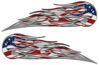 Twin Flame Motorcycle Tank Decal with American Flag