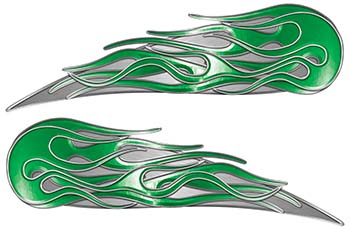 Twin Flame Motorcycle Tank Decal in Green