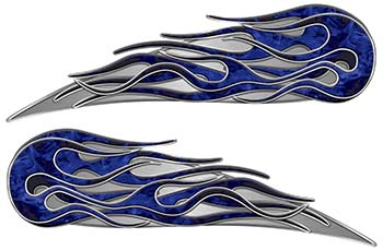 Twin Flame Motorcycle Tank Decal in Blue Inferno Flames