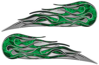 Twin Flame Motorcycle Tank Decal in Green Inferno Flames