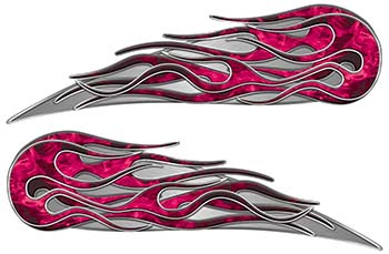 Twin Flame Motorcycle Tank Decal in Pink Inferno Flames