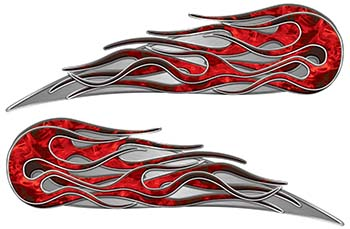 Twin Flame Motorcycle Tank Decal in Red Inferno Flames