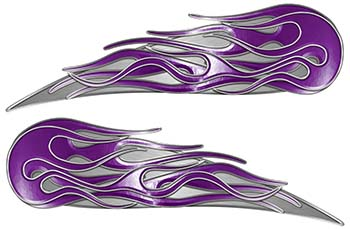 Twin Flame Motorcycle Tank Decal in Purple