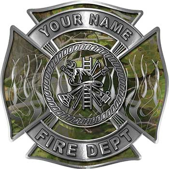 Personalized Fire Fighter Maltese Cross Decal with Flames in Camouflage