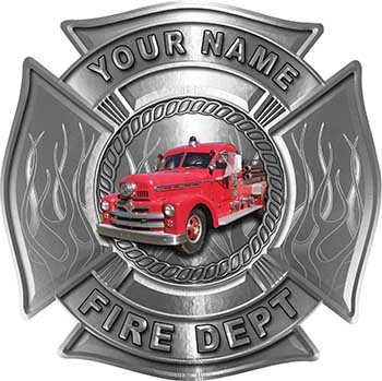 Personalized Fire Fighter Maltese Cross Decal with Flames with Antique Fire Truck