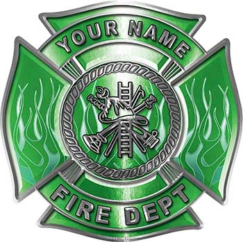 Personalized Fire Fighter Maltese Cross Decal with Flames in Green