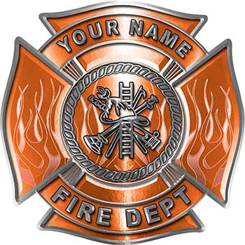 Personalized Fire Fighter Maltese Cross Decal with Flames in Orange