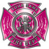 Personalized Fire Fighter Maltese Cross Decal with Flames in Pink