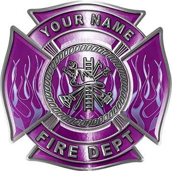 Personalized Fire Fighter Maltese Cross Decal with Flames in Purple