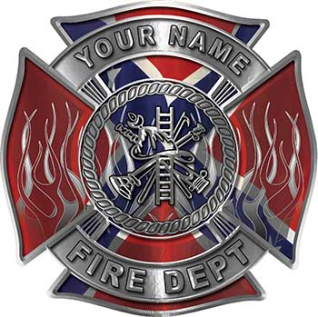 Personalized Fire Fighter Maltese Cross Decal with Flames with Confederate Rebel Flag