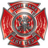 Personalized Fire Fighter Maltese Cross Decal with Flames in Red