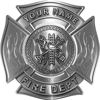 Personalized Fire Fighter Maltese Cross Decal with Flames in Silver