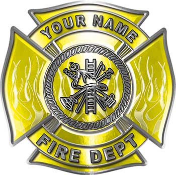 Personalized Fire Fighter Maltese Cross Decal with Flames in Yellow