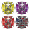 Custom Maltese Cross Firefighter Decals with Fire Scramble or Antique Fire Truck