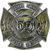 Personalized Fire Fighter Maltese Cross Decal with Flames and Number in Camouflage